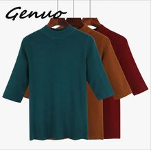 Genuo New 2019 Spring Autumn Women Sweater Half Sleeves O-neck Slim Jumper Knitted Soft Female Pullover Top