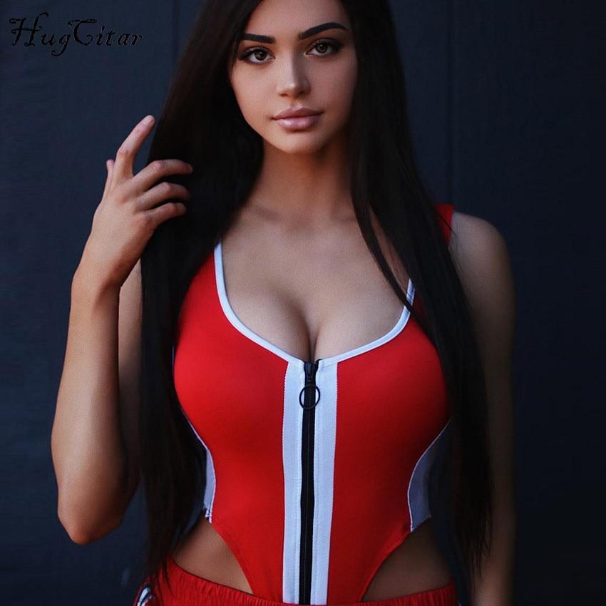 Hugcitar Patchwork Zipper Bodycon Sexy Bodysuit 2019 Women Fashion Summer Casual Body