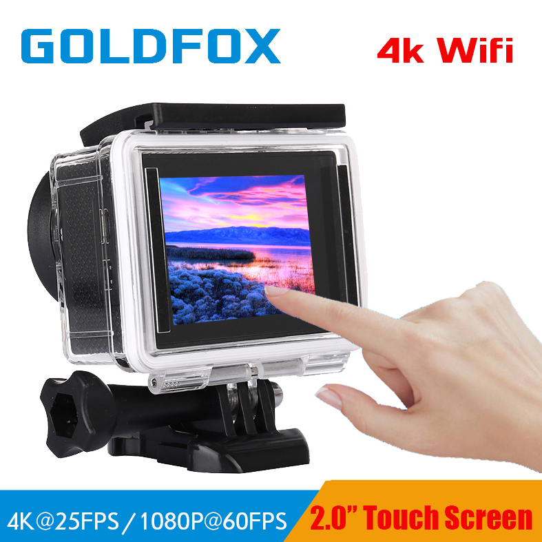 GOLDFOX 4K Action Camera Ultra HD 4K / 25fps WiFi 2.0 Touch Screen 1080P/60fps 170D 30M waterproof go Helmet pro sport cam ultra hd 4k action camera wifi camcorders 16mp 170 go cam 4 k deportiva 2 inch f60 waterproof sport camera pro 1080p 60fps cam
