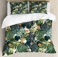 Hawaii Duvet Cover Set Colorful Palm Trees Tropical Plants with Botanical Inspirations Decorative 4 Piece Bedding Set Green