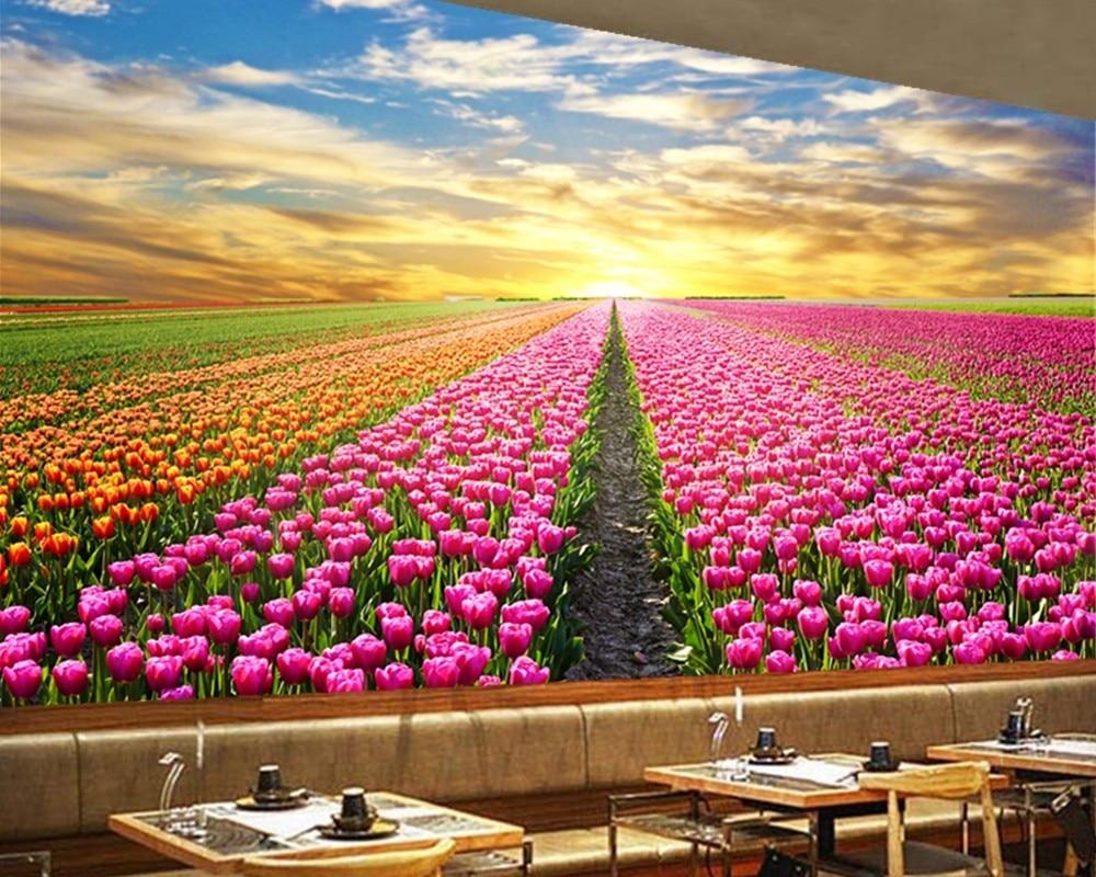 Kustom Pemandangan Alam Wallpaper Sunrise Dan Bunga 3D Foto