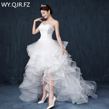 LYG-D83 High Low Floor-Length Trailing Wedding party dress 2018 gown prom  Bride marriage cheap wholesale Custom women s fashion bbe35e266517