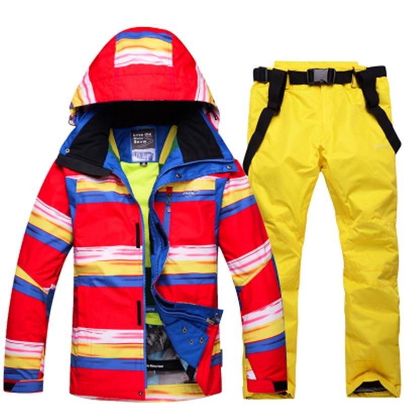 Winter Jackets man Snowboarding winter sports clothing, ski kits Waterproof thick-30 warm suit Jackets + Pants jackets