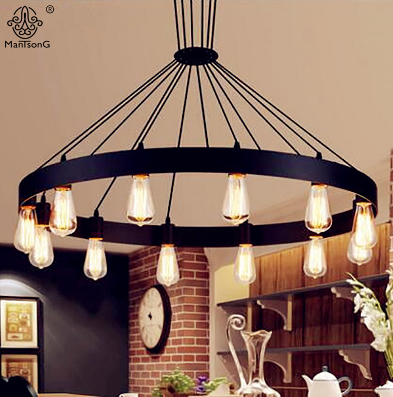 Pendant Hanging Lights Iron Art Round Black Vintage Industrial Loft AC E27 Lamps For Creative Home Bar Cafe Restaurant Lighting high quality ac 360 415v 16a ie 0140 4p e free hanging industrial plug red white