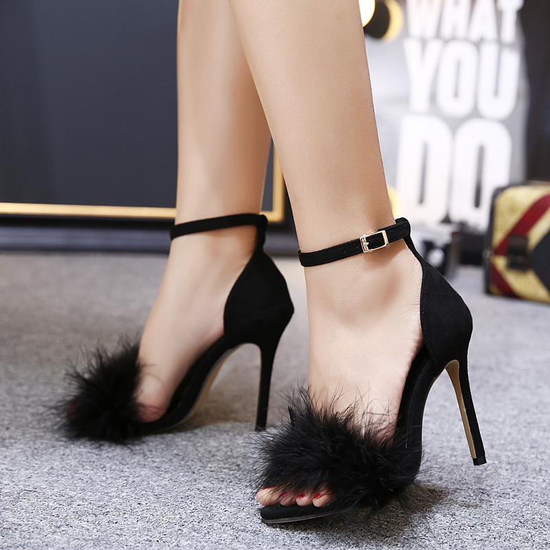 Women Summer Shoes gladiator High Heel Sandals 2017 Fashion Fur thin heels Sandlias women Sandals Sexy Ladies Shoes size 35-40 3
