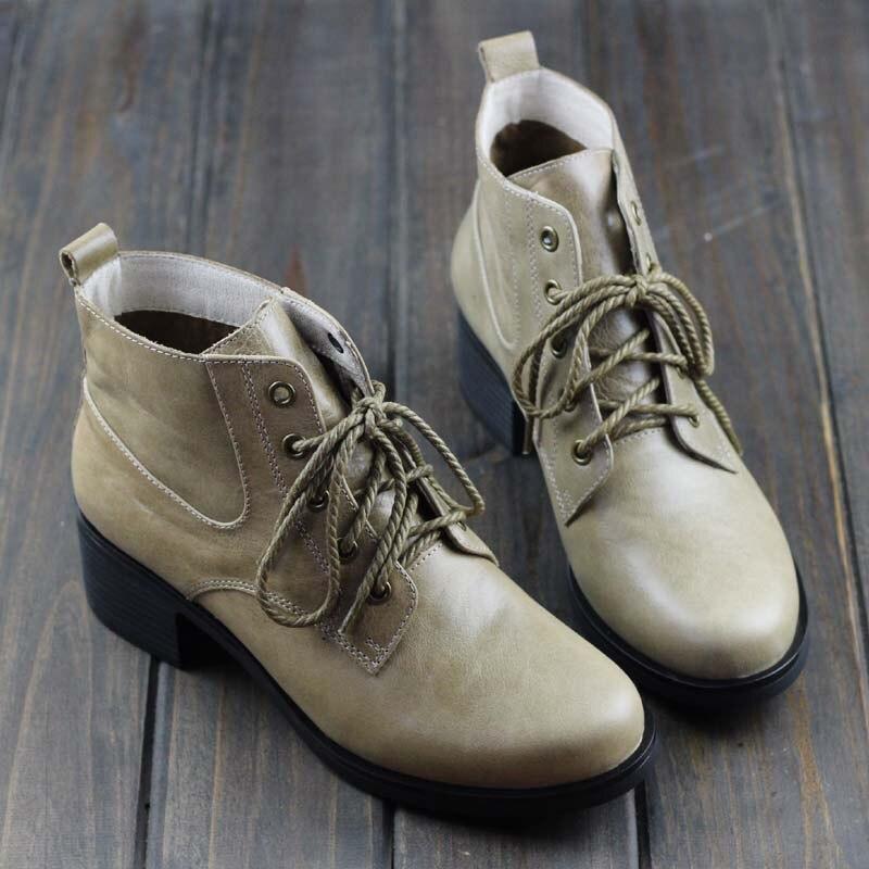 Women's Boots Winter Shoes 100% Authentic Leather Ladies Ankle Boots Plain Toe Lace up Female Winter Boots (737-2) chic pu plain lace up mens winter boots