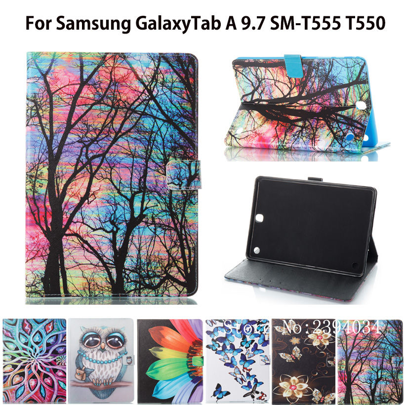 SM-T550 Fashion Panda Pattern Case For Samsung Galaxy Tab A 9.7 SM-T555 T550 P555 Cover Smart Case Funda Tablet PU Stand Shell pu leather case stand cover for samsung galaxy tab a 9 7 sm t550 t555 p550 9 7 360 rotating tablet smart flip cover sm t550