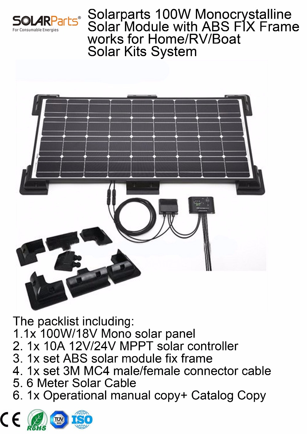 Solarparts 1x 100w monocrystalline solar module by abs fix for Affordable solar frames