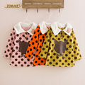 2017 Autumn and Winter Cute Polka Dot Cartoon Cat Girls Clothing Baby Fleece Hoodies Sweatshirt Outerwear Casual Kids Clothes