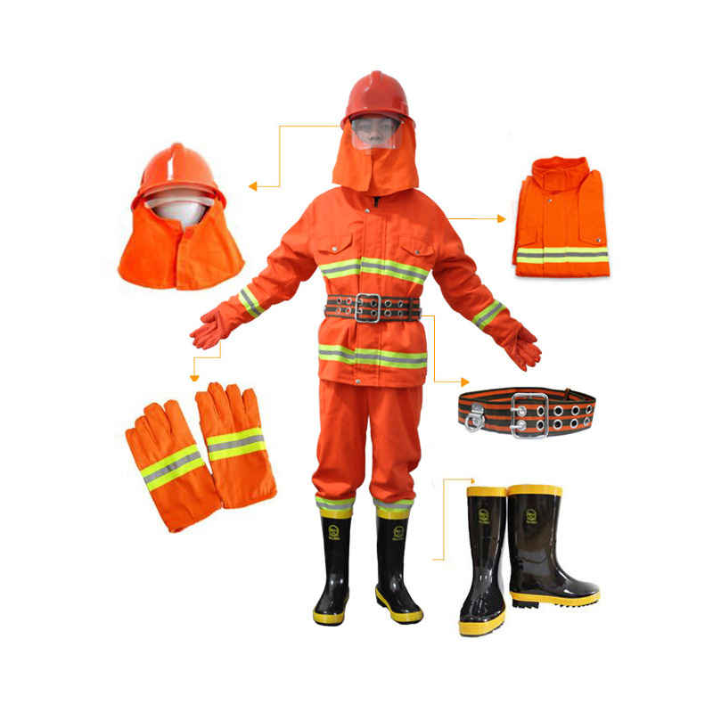 Yellow Long Sleeve Fire Retardant Safety Clothing with Hi-Vis 3M Reflective Tape+Safety Belt+Boot+Fire Gloves+Helmet firefighter s hand protective equipment fire rescue flame retardant safety gloves with reflective material tape