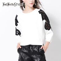 TWOTWINSTYLE Lace Sleeve Knitted Sweater Women Autumn Winter White Irregular Tops Loose Pullovers Female Jumpers Casual