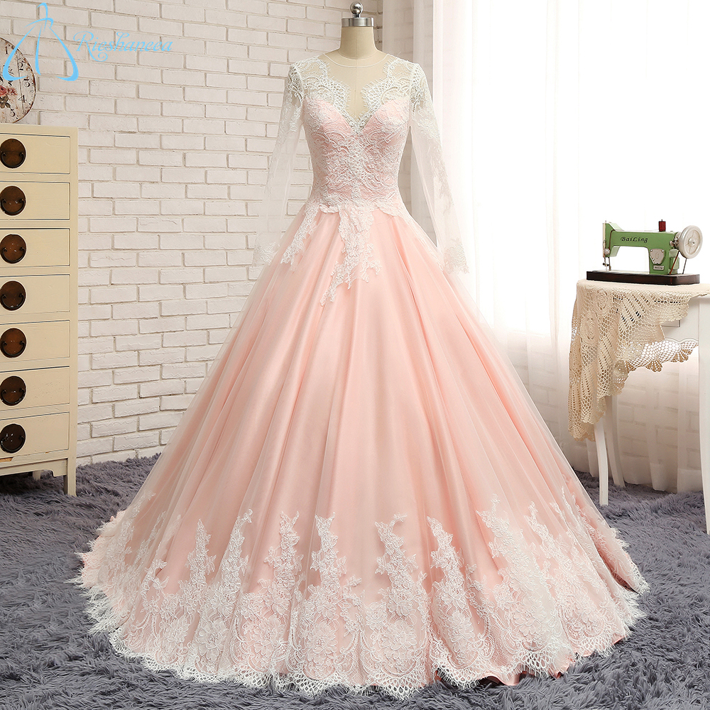 Pink Wedding Gown: 2017 Real Photo Pink Wedding Dress Long Sleeve Court Train