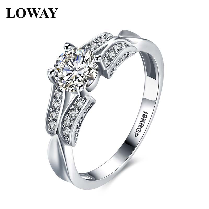 loway brand top design white gold color 06 carat cut cubic zirconia women engagement rings size