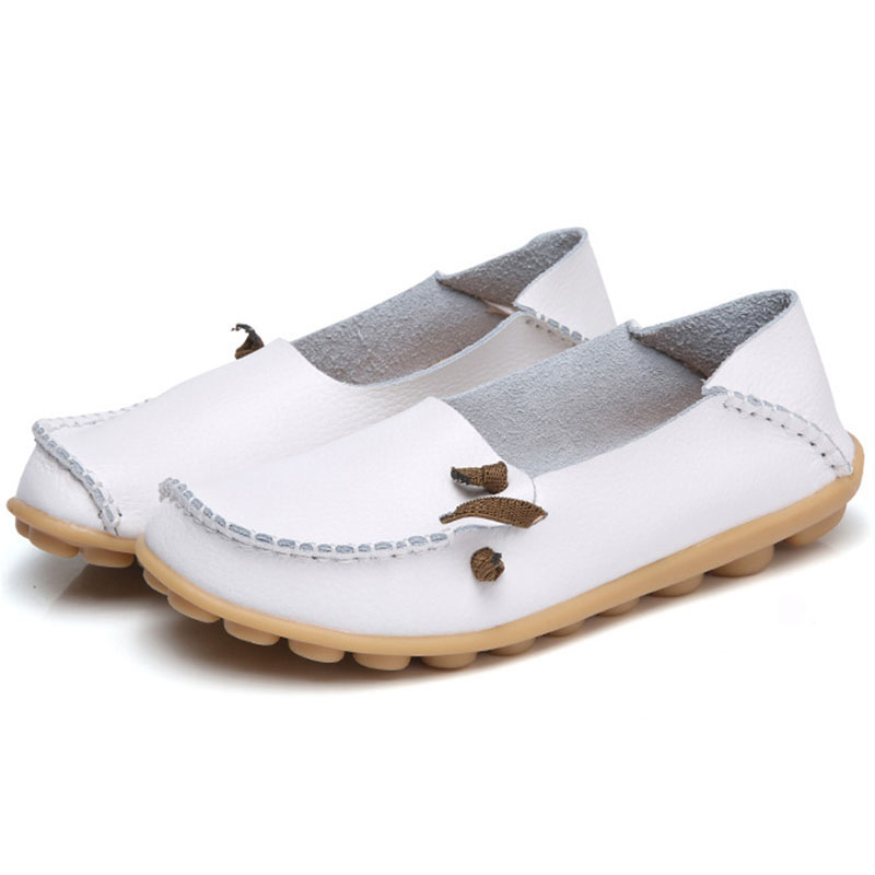 Women Flats Slip On Loafers Women Plus Size Casual Shoes Women Genuine   Leather   Plus Size 35-44 Flat Shoes Female Moccasins