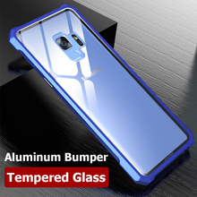 Aluminum Metal Bumper Armor Case For Samsung Galaxy S9 Note 8 S8 Plus Coque Tempered Glass Cover Frame S7 Edge Shockproof Case