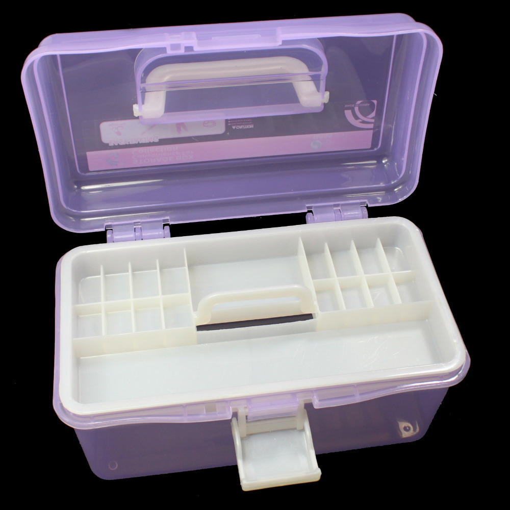 Multi plastic empty 2 layer storage case box nail art for 2 case kit di storia