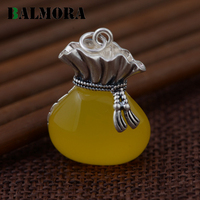 BALMORA Authentic 925 Sterling Silver Yellow Chalcedony Pendants For Necklace Women Accessories Gifts Vintage Jewelry MN12347