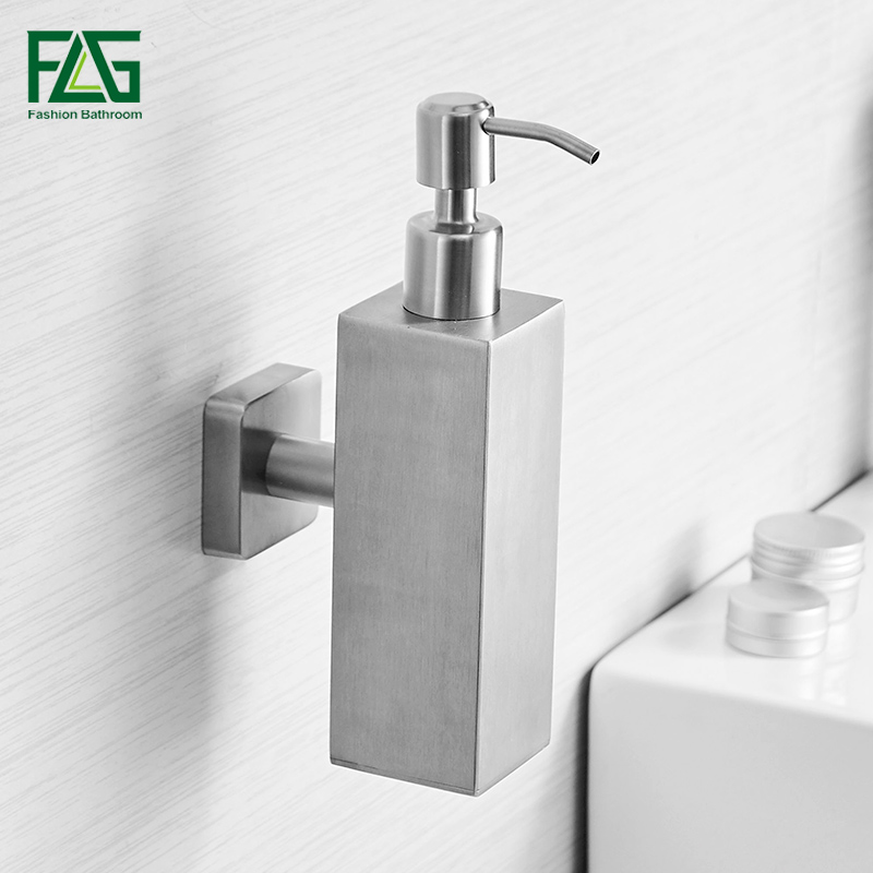 FLG Liquid Soap Dispenser Wall Mounted Lavatory Bath Accessories Stainless Steel Soap Dispenser Pump Shower Soap Bottle P237-01N 280lm automatic liquid soap dispenser stainless steel sensor soap dispenser pump shower kitchen soap bottle for bath washroom