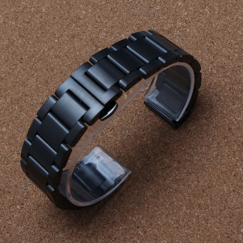 New Watchband 18mm 20mm 22mm 24mm watch band matte Stainless steel wristwatches strap black Silver watch accessories waterproof top quality new stainless steel strap 18mm 13mm flat straight end metal bracelet watch band silver gold watchband for brand