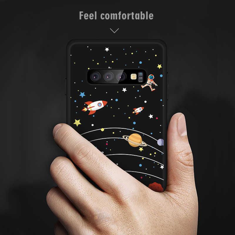 Прекрасный любовника звезды телефон черный Чехлы для samsung Galaxy A7 2018 S10 Lite A6 A8 S9 S8 плюс A5 2017 Примечание 8 Note9 Чехол Мягкий ТПУ Капа