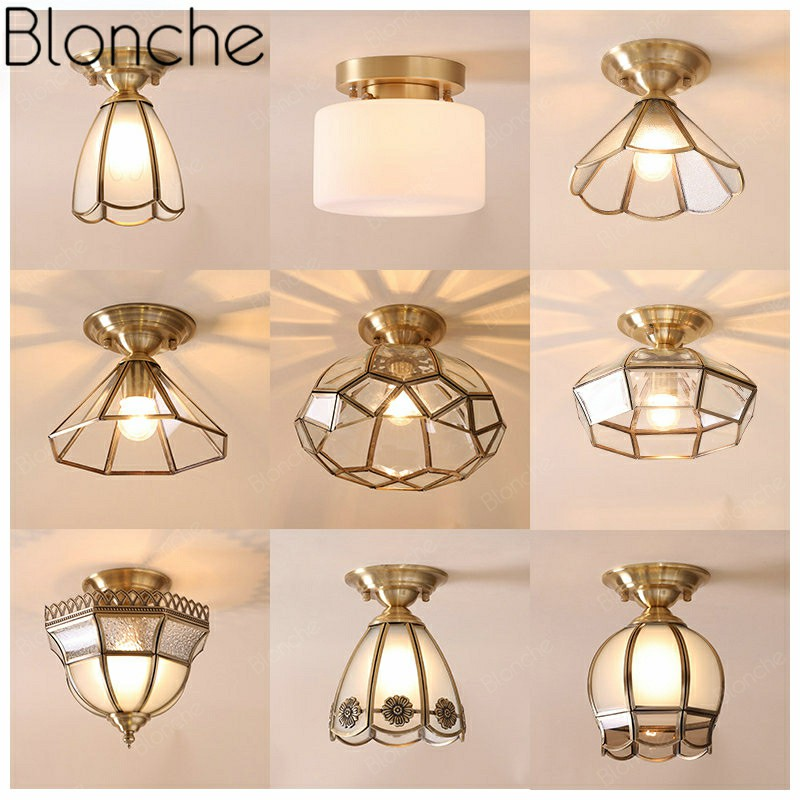 Blonche Europe Pure Copper Ceiling Lamp Led Glass Ceiling Lights for Living Room Bedroom Corridor Fixture Home Decor Lighting Ceiling Lights     - title=