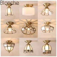 Blonche Europe Pure Copper Ceiling Lamp Led Glass Ceiling Lights for Living Room Bedroom Corridor Fixture Home Decor Lighting