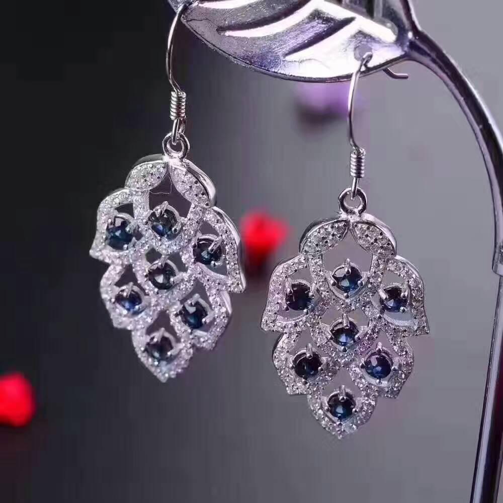 natural blue sapphire drop earrings 925 silver Natural gemstone earring Luxury fashion leaves women drop earrings party jewelry tropical leaves drop earrings