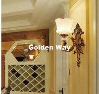European Brass 1 Light Wall Light, Euro Wall Lamp Solid Brass Construction Antique Brass Finished Jade Shade Decorative Lighting