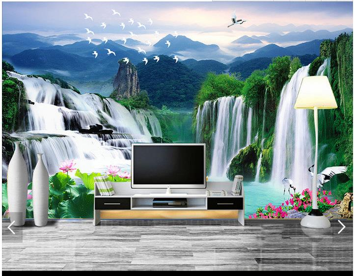Custom 3d Mural Wallpapers Hd Landscape Mountains Lake: 3d Photo Wallpaper Custom 3d Wall Murals Wallpaper Water