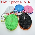 3M /10FT IOS8.3Flat Noodle USB Adapter Charger Fabric Braided Nylon Woven Data Sync Cable Cord for iPhone 5 5C 5S 6 6plus 200pcs