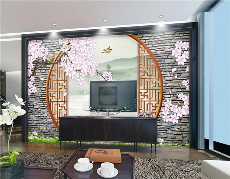 3d room wallpaper custom mural photo Round Door Sakura 3D bird painting picture 3d wall non-woven murals wallpaper for walls 3d 3d room wallpaper custom mural non woven wall sticker golden vase green pink flower painting photo murals wallpaper for walls 3d