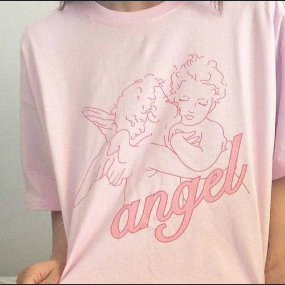 Fashion Kawaii Angel Printed Women   t     shirts   2018 Summer Loose Short Sleeved Casual Clothing Pink Cotton Top Tees Vogue   t     Shirts