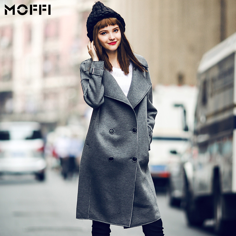 Women Long Trench Coat New 2017 Autumn Trenchcoat Long Sleeve Plus Size Double Breasted Lapel Collar Windcoat