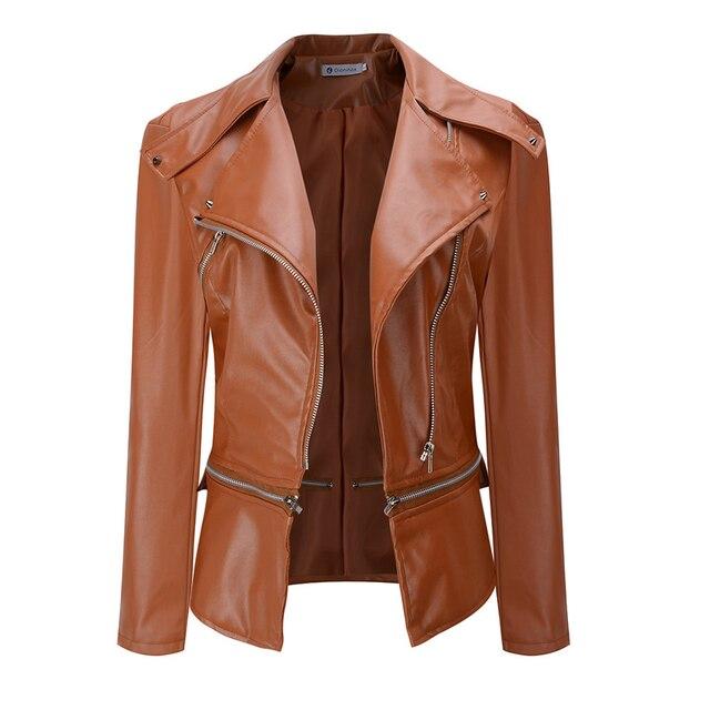 2018 Autumn Women faux Leather Jacket Gothic Black moto jacket Zippers Long sleeve Goth Female PU Faux Leather Jackets 5