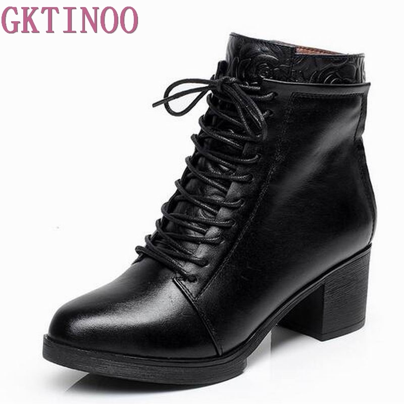 33-42 Lace up Spring Autumn Winter Boots Women Shoes Warm Fur Addible Ankle Boots Martin Boots High Heels Genuine Leather Boots fluffy cosplay halloween party cat faux fox fur ears costume hairpin hairband black white purple leopard black
