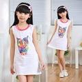 Muchachas del desgaste del verano ropa de niñas vestido de algodón niño 8-9-10-13 años de Muchacha de la historieta del búho ocio vestido de los niños vestidos de blanco