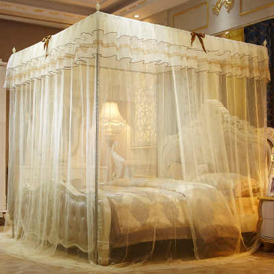 2019 Home Textile  Lace Ceiling Mosquito Net Elegant Palace Three-door Mosquito Netting Without Shelves  Bed Canopy Netting