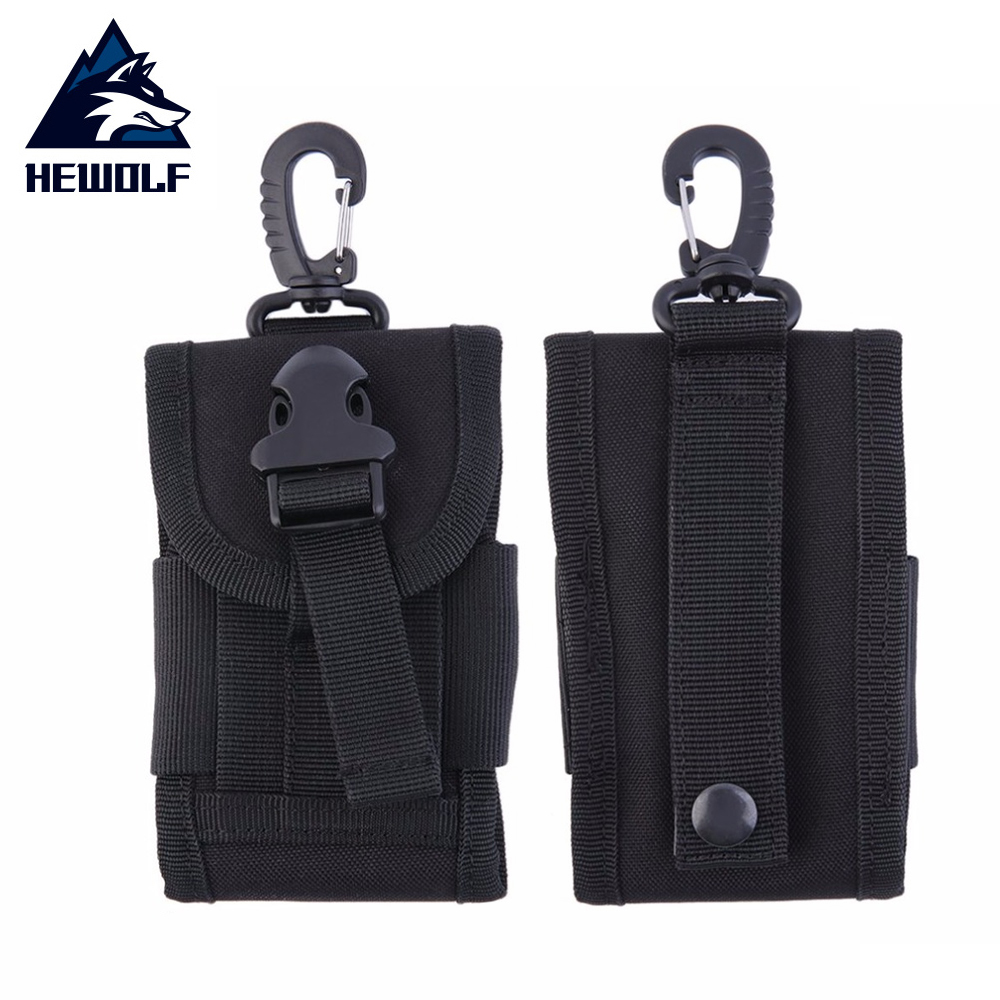 Hewolf 4.5 Inch Universal Oxford Army Tactical Bag Travel Kit For Mobile Phone Hook Cover Pouch Case Hard Wearing Heavy Duty