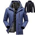 Большой размер горячей продажи теплая верхняя одежда зимняя куртка мужчины женские 2 в 1 сгущает водонепроницаемая куртка пальто мужчины куртка размер м ~ 6XL