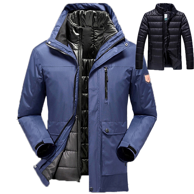 2016 large size hot sale warm outwear winter jacket men women`s 2 in 1 thicken waterproof down parka coat men jacket size M~6XL