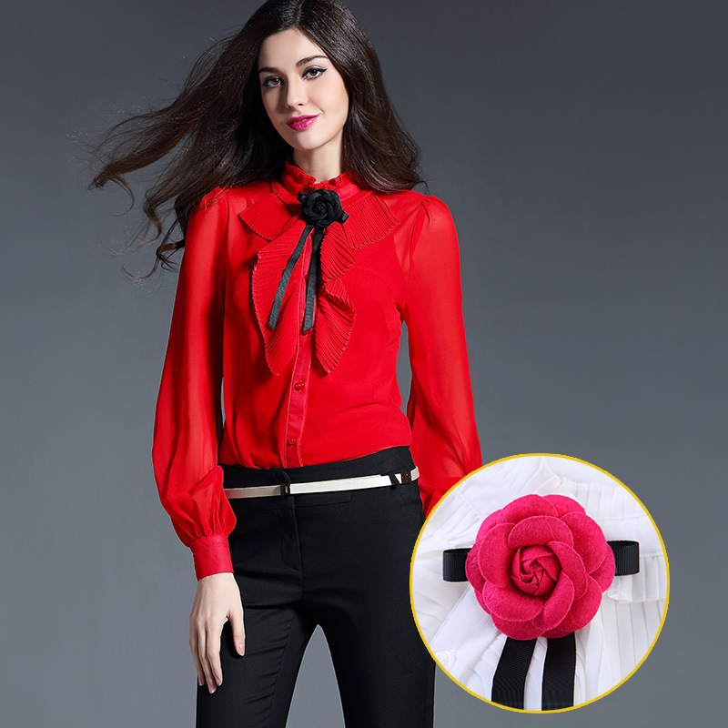 Spring And Summer Tops 2016 European Women Blouses Lantern Sleeve Chiffon Blouse White Black Plus Size Women Clothing High-end