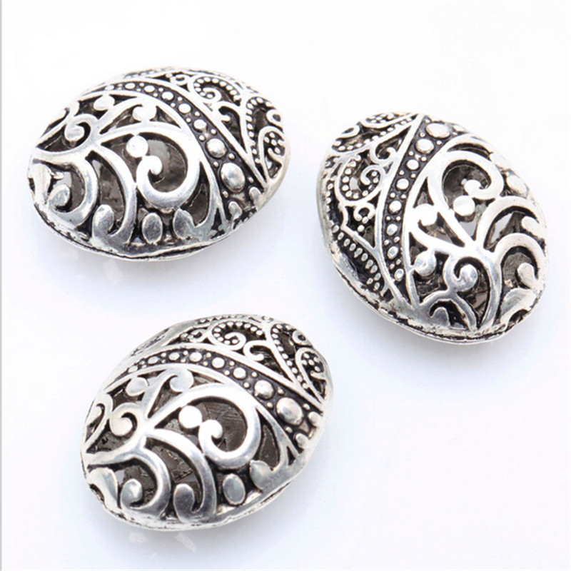10pcs Tibetan Silver Ellipse Shaped Hollow Spacer Bead Findings Fashion  DIY Beads For Jewelry Making Bracelets
