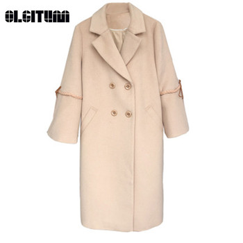 New 2020 Autumn and Winter Korean Fabric Korean Casual Simple Solid Color Woolen Coat Women Coat