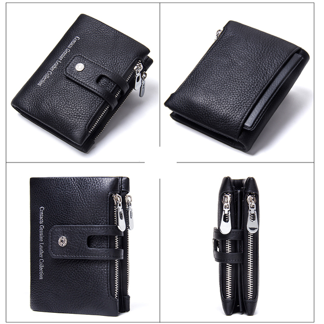 CONTACT'S Genuine Crazy Horse Leather Mens Wallet Man Cowhide Cover Coin Purse Small Brand Male Credit&ID Multifunctional Walets 4
