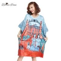 BelineRosa 2018 Women's Fashion Dress Flare Sleeve European Style Printing Short Sleeve Summer Tunic Women Clothing TYW00815