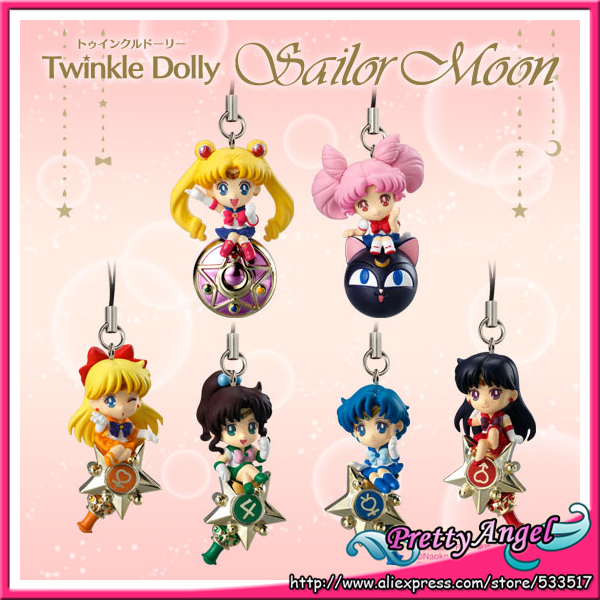 Japanese Original Bandai Shokugan Twinkle Dolly Sailor Moon Keychain Action Figure Full Set of 6 PCS sailor moon capsule communication instrument machine accessory gashapon figure anime toy full set 100