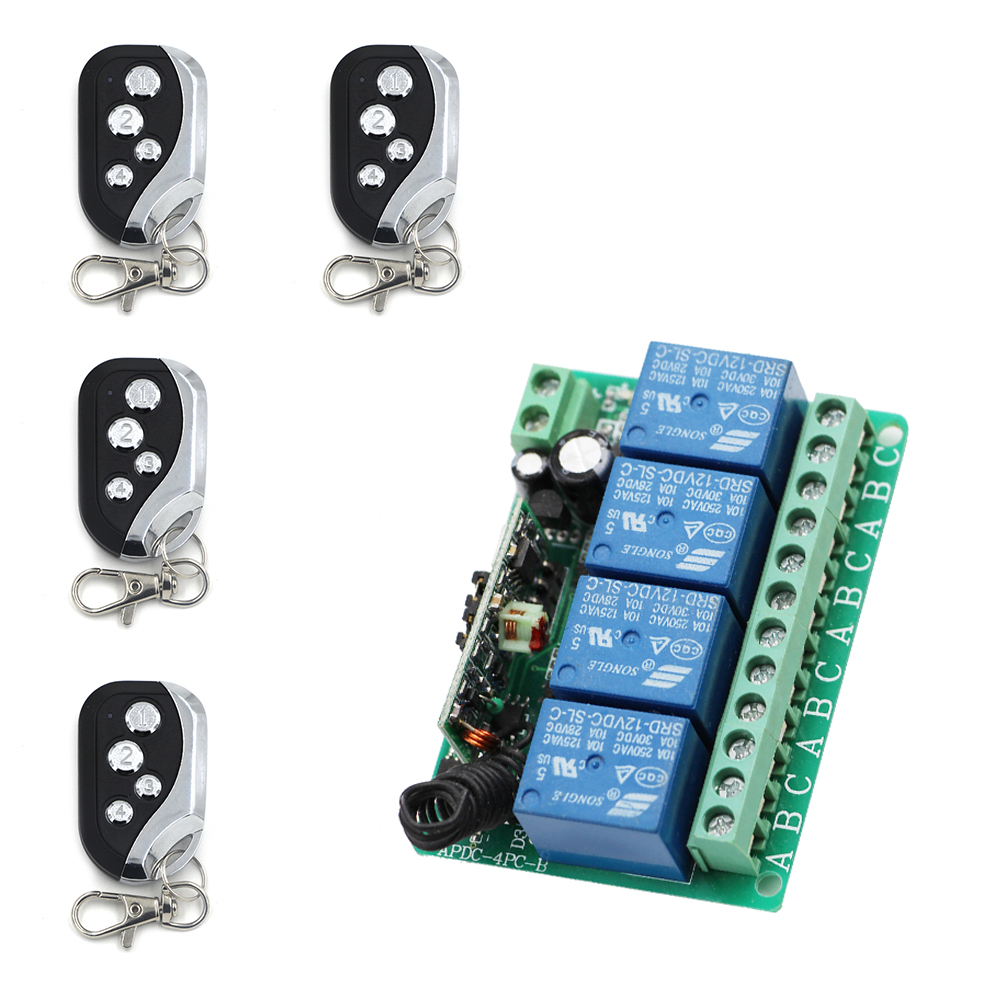 New Home Automation DC12V 10A 4CH RF Wireless Remote Control Switch System 4 *Transmitters & 1* Receiver for Access 315/433Mhz new restaurant equipment wireless buzzer calling system 25pcs table bell with 4 waiter pager receiver