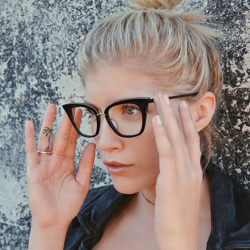 KOTTDO Fashion Women Cat Eye Glasses Frame Retro Eyeglasses Frame Brand Metal Vintage Glasses Optical Glasses Frame Oculos