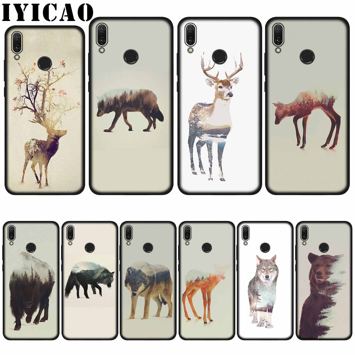 IYICAO Animal Double Exposure Wolf Bear Deer Wild Boar Soft Case for Huawei P20 Pro P10 P8 P9 P30 Lite Mini 2017 P Smart 2019