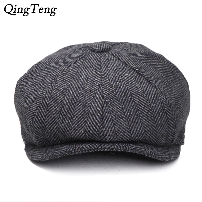 Plus Size Peaky Blinders Men Berets Hat Autumn New Vintage Herringbone Octagon Cap Women'S Casual Pumpkin Hat Gatsby Flat Beret